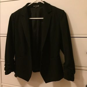 Express cinched/pleated 3/4 sleeve blazer